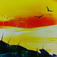 Beautiful sunset - Encaustic wax painting