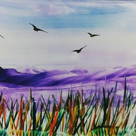 Purple Hills - Encaustic wax painting