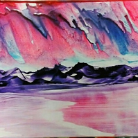 Stormy Sunset - Encaustic wax painting