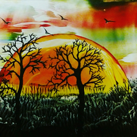 Golden sunset - Encaustic Art painting