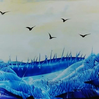 Blue Lands - Encaustic wax painting