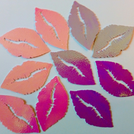 Pearlescent card lips cut outs