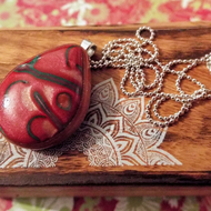 Metallic Red Polymer Clay Pendant Necklace