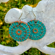 Gold and turquoise polymer clay mandala earrings