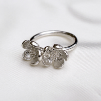 Silver Double Blossom Ring