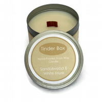 Large Sandalwood & White Musk Scented Soya Wax Candle (250ml)