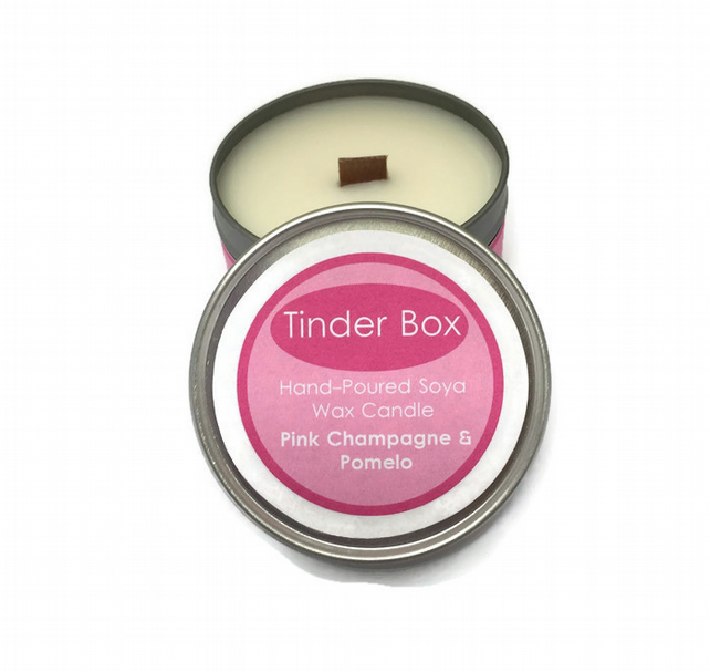 Large Pink Champagne &  Pomelo Scented Soya Wax Candle (250ml)