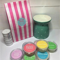 Green Polka Dot Scented Soya Wax Melt Starter Kit