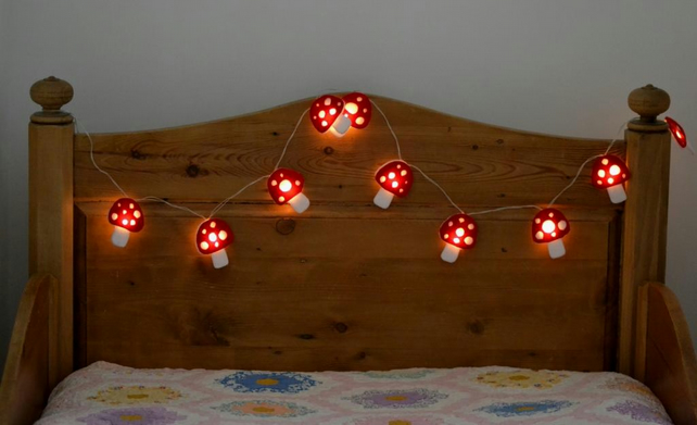 Toadstool Battery Led Fairy String Lights Wood Folksy