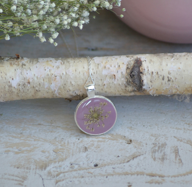 Pink sterling silver pendant neckalce with pressed Ammi Majus flower girl gift