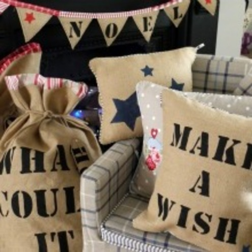 Beautiful Handmade Vintage Style Shabby Chic Make a Wish Cushion