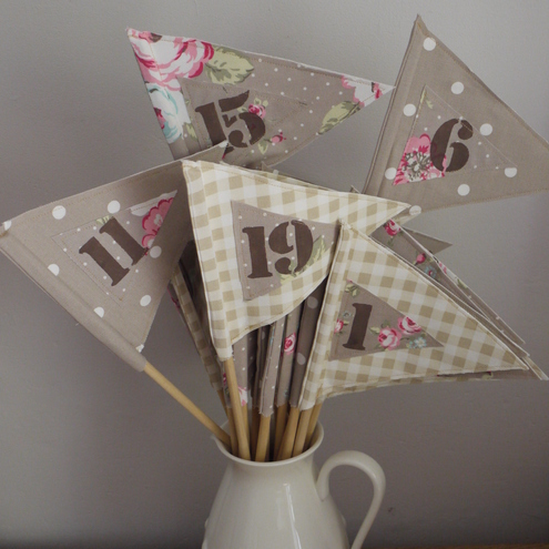 Tea party style vintage wedding flag table number
