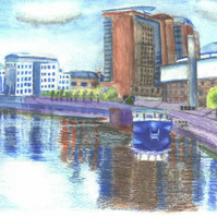 The Barge on Belfast Waterfront River Scene Watercolour Print