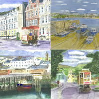 Set of 4 Acrylic Coasters paintings of Isle of Man