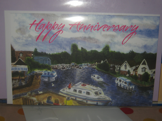 Norfolk Broads View Wroxham Bridge Anniversary Card