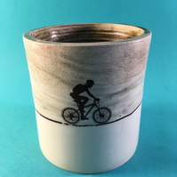 Little cyclist cup. Ceramic. Hand thrown. Coffee. Storage. Bike gift.