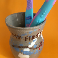 My First toothbrush. Storage. Pottery. Bathroom. Gift.