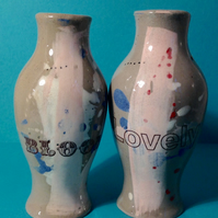"2x Bottles. Vase. Handmade. Decals. ""Bloomin' Lovely"". Gift."