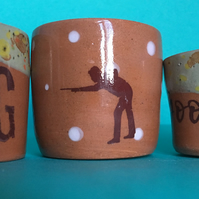 3x egg cups.Good egg. Egg cup. Ceramic. Breakfast. Homemade. Snooker. Gift.