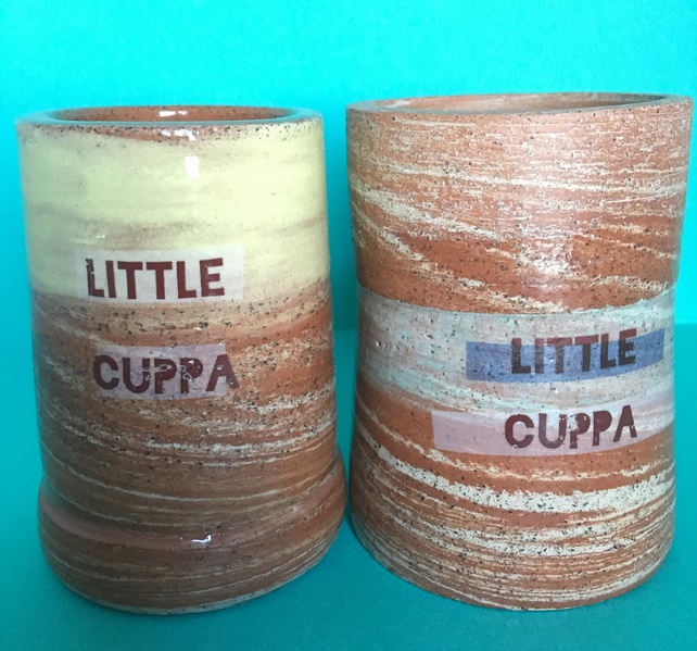 2x little cuppas. Cup. Handmade. Ceramic. Espresso. Gift. Pottery. Handthrown.