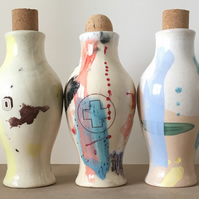Set of 3 Ceramic bottles. Vase. Gift. Oil. Decorative. Potion. Cork.