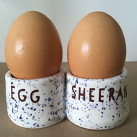 Double Egg Sheeran egg cup. Handmade pottery.Housewarming.