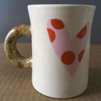 Coffee cup. Handmade. Pottery wheel. Heart. Mug. Valentine. Tea lover. Spots.