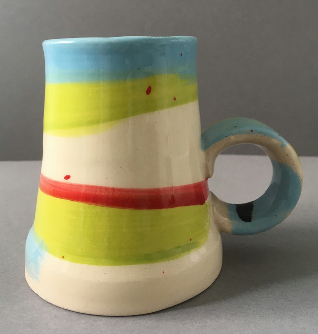 Abstract pattern ceramic cup.Tea lover. Handmade mug. Coffee lover. Colour.