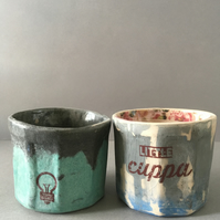 2 x Ceramic beakers. Tea light holder.Candle cup. Light bulb. Espresso cup.