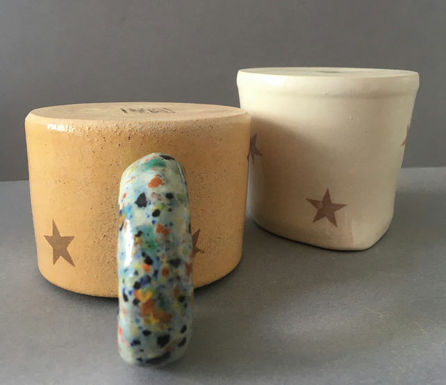 Star set. Handmade ceramic cup and jug.