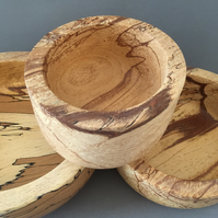 Set of 3 Spalted beech turned bowls.