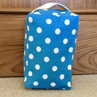 Doorstop, ready to fill, spot door stop, fabric doorstop, turquiose door stop