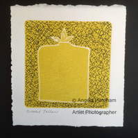 Bottled Yellow Lino Cut