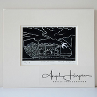 Original Lino Print Renishaw Hall Amongst Trees
