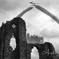 Composite Photograph Black and White Whitby Gothic Abbey