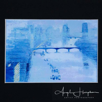 Small Inkjet Print of Watercolour Pastel Impressionist Thames London