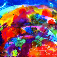 Inkjet Print of Fine Art Ink Abstract Rainbow Universe