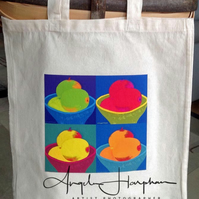 Bright Cotton Re-usable Bag with Fruit Design