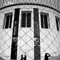 Black & White Photo British Museum  London with People