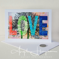 Blank Card Love and Winter Trees