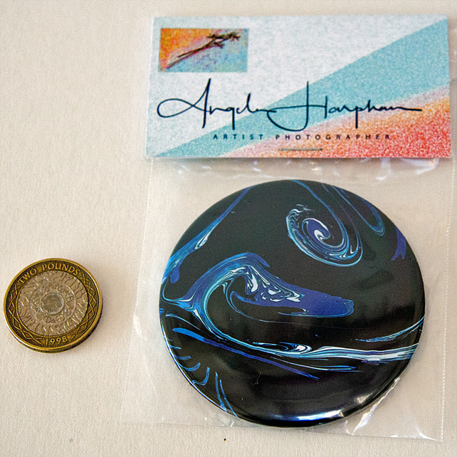 Circular Pocket or Toiletry Mirror with Unique Marbled Galaxies Design