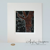 Original Lino Print Tree and Hares Autumnal Bronze - Muse