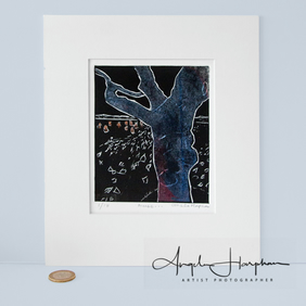 Unique Lino Cut Print - Renishaw Gnarled Tree & Hares Blue