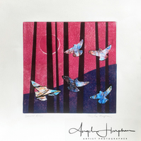 Original Collograph Print with Collaged Doves - Dawn Rise Magenta