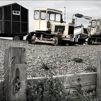 Art Photograph Norfolk Tractors and Hut on Shingle Beach Vintage Effect