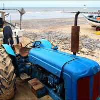 Art Photograph Bright Tractor and Boats Cromer Beach Norfolk