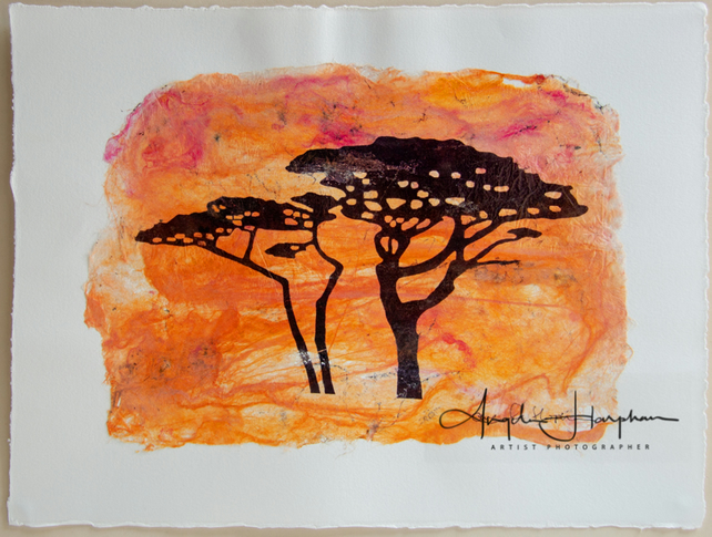 Sunset Trees on Handmade Orange Silk Paper