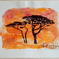Digital Drawing Two Cornish Trees on Handmade Silk Paper