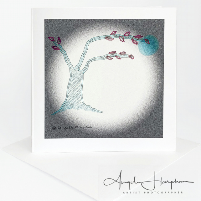 Small Square Blank Card Tree Summer