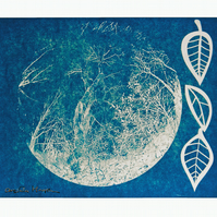 Blue Cyanotype Print on Canvas - Tree in the Moon - Negative